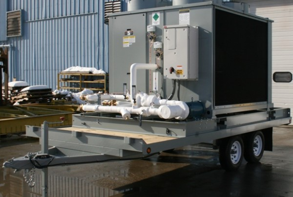 Complete mobile chiller, trailer mounted for emergency building cooling at military base.